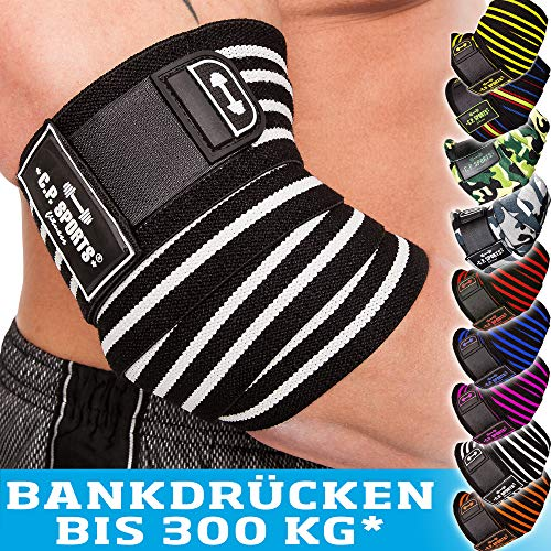C.P. Sports Bankdrücken Profi-Ellenbogenbandage 1 Paar, Fitness, Crossfit, Sportbandage, Ellenbogenbandage Bodybuilding, Powerlifting (Schwarz-Pink)