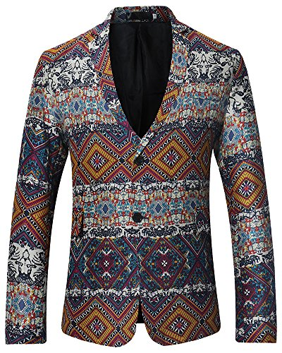 Slim Fit Uomo Casual Two Buttons Cappotto Giacca Blazers Stampato Orange