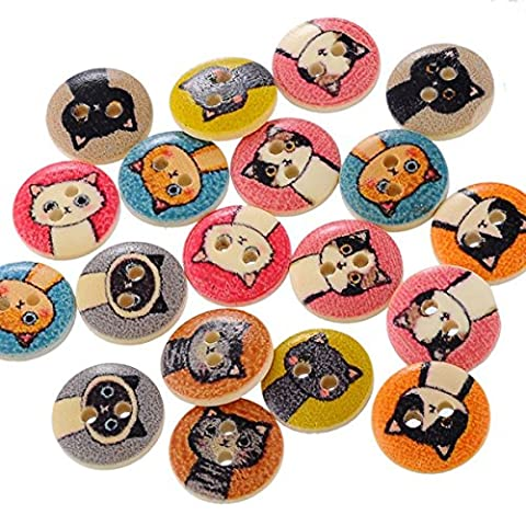 Nalmatoionme 100pcs 15mm DIY Wooden Cute Cats 2 Hole Button