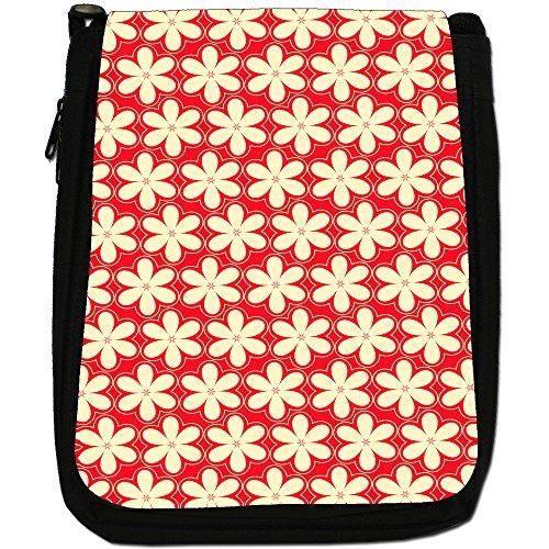Fancy A Snuggle, Borsa a spalla donna Red & Cream 6 Petal Flowers
