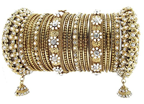 9blings Aria gold plated pearl dangler cz 32pc Bangles bridal chuda for Women l69