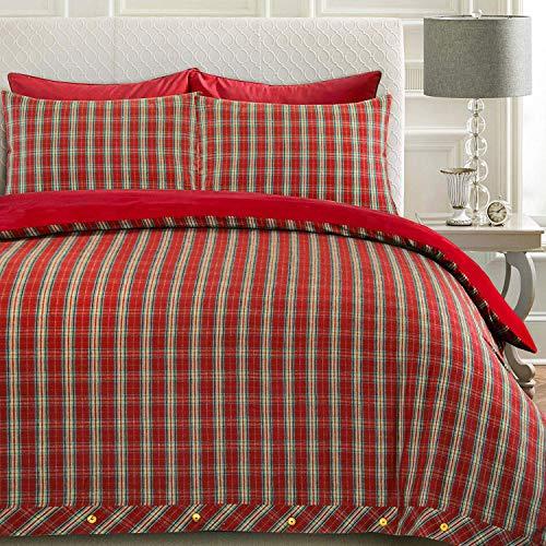 Nimsay Home Highland 100% Baumwollflanell-Bettbezug-Set für Einzelbett, Doppelbett, King-Size, Tartan, Karomuster, rot, Super King (King-size-tröster-sets Männer)