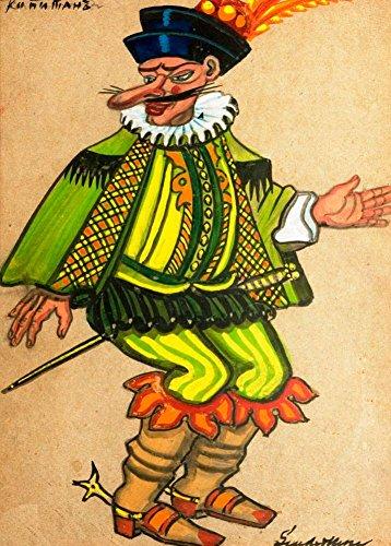 Vintage Ballett Serge Sudeikin Kostüm Design für die Captain aus petroushka von Strawinski in Metropolitan Opera 1924-25, 250gsm, glänzend, A3, vervielfältigtes Poster Der Vorderdeckel