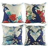 Luxbon Packung mit 4 Vintage Pfau Peacock Blume dauerhaft Leinen Kissenbezug Lendenkissen Wurfkissen Fall Cafe Auto Haus Deko 18 x 18 ''