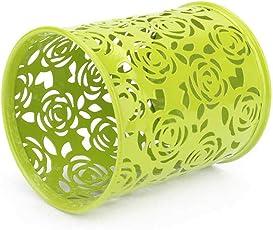 Hohle Rose-Blumen-Muster-Bürsten-Topf-Halter-Organisator Eisen Runde Praktische Federn-Bleistift-Cup-Briefpapier-Behälter-Speicher Regard