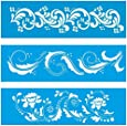 Set of 3 - 28cm x 8cm Reusable Flexible Plastic Stencil for Graphical Design Airbrush Decorating Wall Furniture Fabric Decorations Drawing Drafting Template - Leafy Leaves Pattern