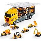 لعبة مجموعة نماذج سيارات هندسية مكونة من 6 قطع مصنوعة من خليط معدني للاولاد الصغار مكونة من جرافات وجرار ورافعة شوكية وشاحنة