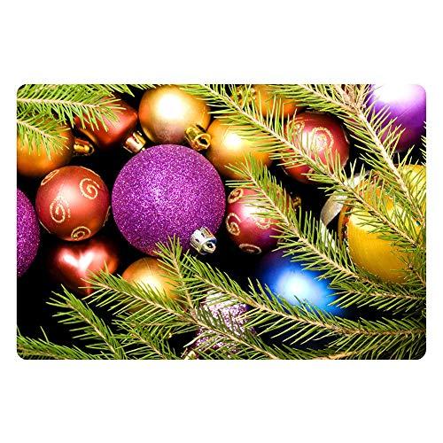 Tappeto da bagno in feltro con motivo a pallina di Natale, antiscivolo, morbido tappeto da bagno con stampa, C945, 40 x 60 cm