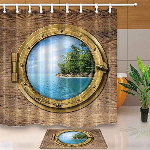 cdhbh Boot Holz Fenster oder Bullauge mit tropischen Insel 180x180cm Schimmelresistent Polyester Stoff Vorhang für die Dusche Anzug mit 40x60cm Flanell rutschfeste Boden Fußmatte Bad Teppiche
