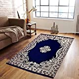 MBS Home Furnishing Ethnic Velvet Touch Abstract Chenille Carpet - 5 X 7 Feet, Abstract Flower, Navy Blue