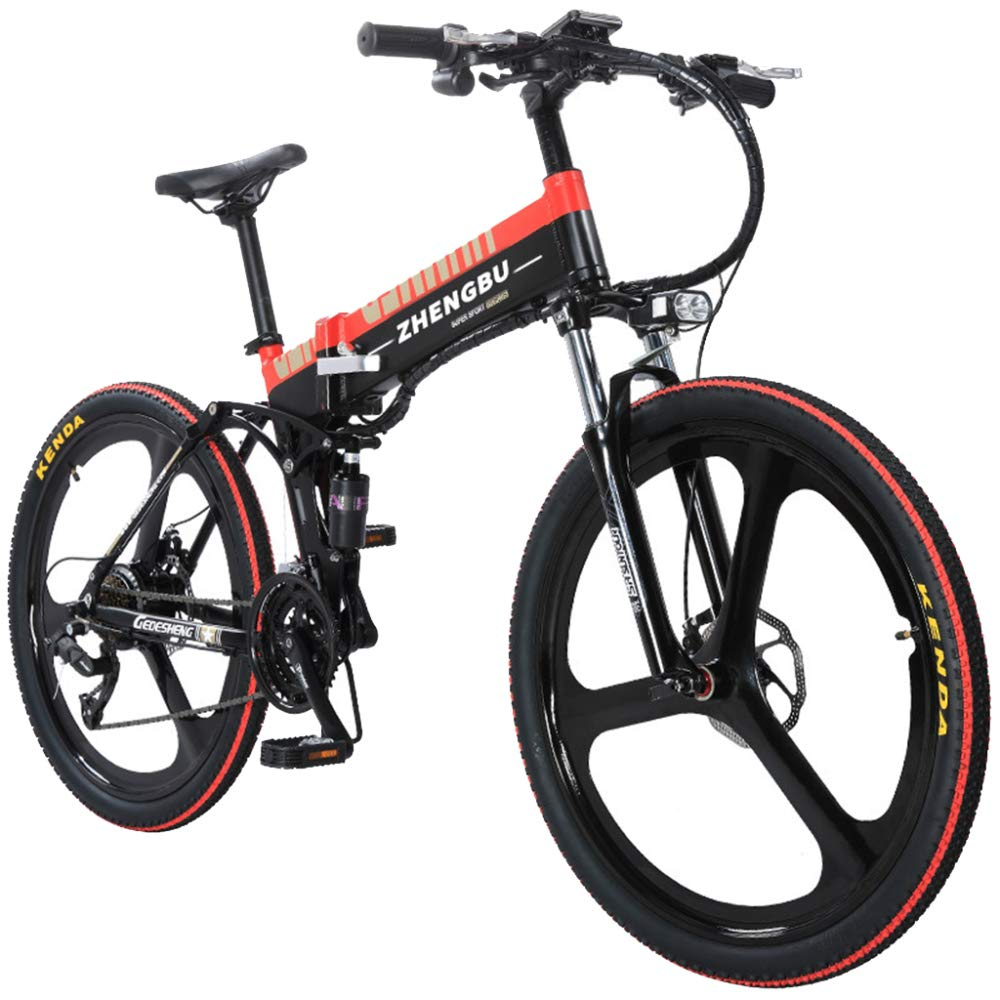 b58224eb8a4 MERRYHE 27 Speeds Four-link Suspension E-Bike 400W Electric Folding Cruiser  Bicycle 48V 10AH Removable Li-Battery Mountain Bikes 26 Inch Integrated  Wheel ...