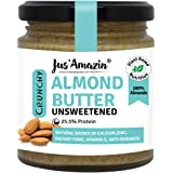 Jus Amazin Crunchy Almond Butter - Unsweetened (200g) | 25.5% Protein | Plant-Based Nutrition | 100% Almonds | Zero Additives