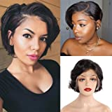 Bob, Brazilian Short Bob Pixie Cut Wig 150% Density Lace Front Curly Human Hair Wigs for Black Women Pre Plucked Hairline wit