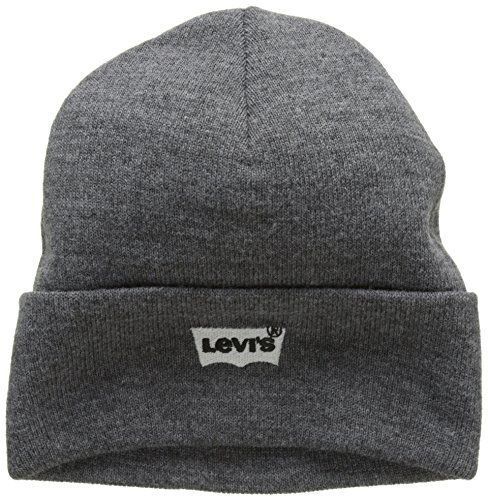 Levi\'s Herren Batwing Embroidered Slouchy Beanie Strickmütze, Grau (Regular Grey 55), one Size