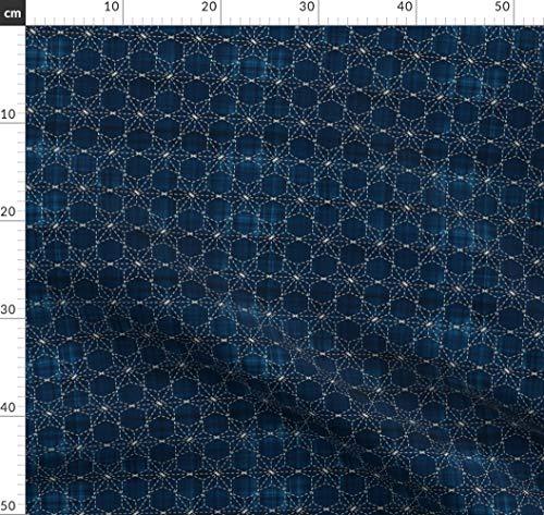 Sashiko-designs (Sashiko, Japanisch, Traditionell, Stickerei, Stern, Geometrisch, Origami Stoffe - Individuell Bedruckt von Spoonflower - Design von Bonnie Phantasm Gedruckt auf Bio Musselin)