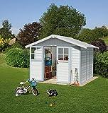 Ondis24 Gartenhaus 2,42x2,02m, Gerätehaus Kunststoff/Metall, Fahrradschuppen mit Satteldach, Geräteschuppen UV-beständig