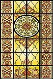 RAIN QUEEN Fensterfolie statische Aufkleber Glasdekorfolie Milchglasfolie Sichtschutzfolie blickdicht Folie Selbstklebend bunt Kirche Pfau (45*90 cm, os-53)