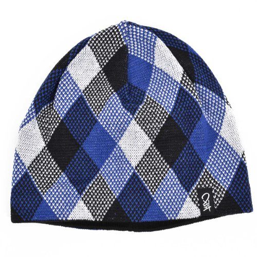 K1X Mütze CHECK BEANIE black white ultra blue
