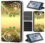 Samsung Galaxy S6 G920 Hülle von CoverHeld Premium Flipcover Schutzhülle S6 G920 aus Kunstleder Flip Case Motiv (1374 Abstract Smaragd Grün Gold Farben)