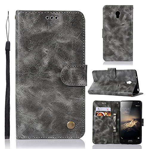 kelman Hülle für Lenovo Vibe P1 Hülle Schutzhülle PU Leder + Soft Silikon TPU Innere Schale Brieftasche Flip Handyhülle - [JX02/Grau]
