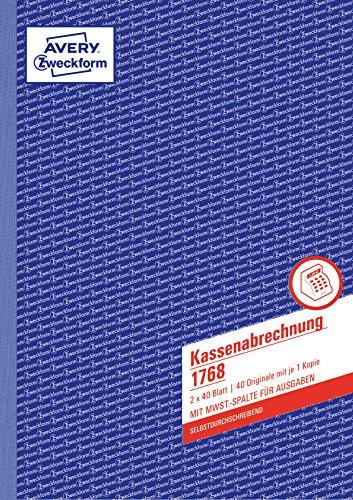 Avery Zweckform 1768 Kassenabrechnung (A4, mit MwSt.-Spalte, 2x40 Blatt) weiß/gelb