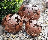 3er Set Dekokugeln Gartenkugeln Blume Metall 10+15+20cm Braun Rost-Optik Kugel Gartenkugel