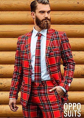 Preisvergleich Produktbild Erwachsenen Mens Red Tartan Holzfäller Oppo Anzug Kostüm XXXL (EU62 UK52)