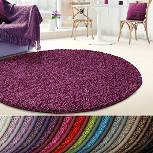 Shaggy Teppich Barcelona | weicher Hochflor Teppich für Wohnzimmer, Schlafzimmer und Kinderzimmer | mit GUT-Siegel und Blauer Engel | verschiedene Größen | viele moderne Farben | Rund 200 cm Durchmesser | Berry