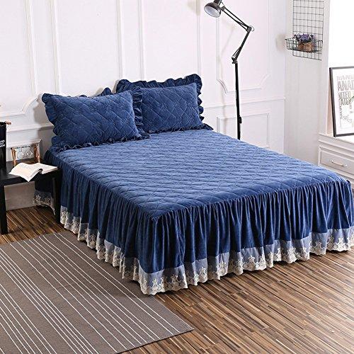 Bettvolant, Samt und Baumwolle, gesteppt, warm, dick, blau, 120x200cm(47x79inch)
