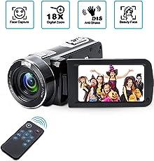 Videokamera Camcorder mit IR-Nachtsicht, Weton 1080P Full HD Camcorder Digital Videokamera 24,0 Megapixel, 18 Fach Digital Zoom Video Camcorder (Zwei Batterien Enthalten)