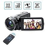 Videokamera Camcorder mit IR-Nachtsicht, Weton 1080P Full HD Camcorder Digital Videokamera 24,0 Megapixel, 18 Fach...