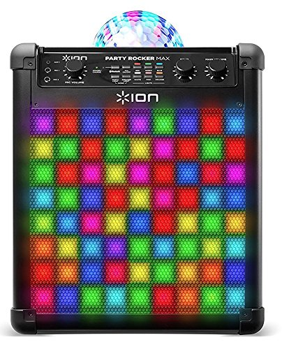 ION Audio Party Rocker Max - Akkubetriebenes 100W Bluetooth Party-Lautsprechersystem und Karaoke Center mit Partylichtkuppel, LED-Gitter und Mikrofon