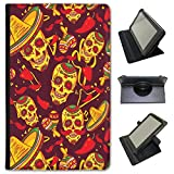 El Dia de los Muertos Mexiko Day Of Dead Kunstleder Folio Presenter Schutzhülle Tasche mit Standfunktion für Huawei Tablets schwarz Skulls In Sombreros & Maracas Huawei Mediapad T1 10 inch