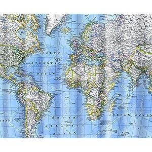ncshop1212–mapa del mundo cortina de ducha baño vivos no moho impermeable lavable 71x 71cm 180x 180cm FASHION