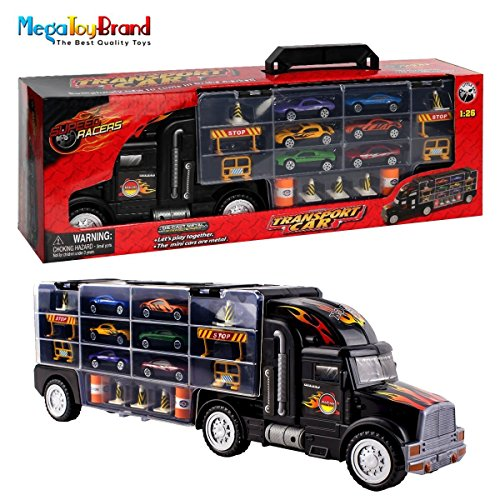 Transport Car Carrier Truck Toy for Boys with Cars Inside (includes 6 cars & Many Highway accessories and 28 slots, The additional slots can be used to store hot wheels, matchbox cars)