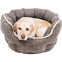 Hundebett von Quicktail, Formstabil aus Polyester, Rutschfester Hundekorb, Wendbare Polstermatte aus warmem Soft-Plüsch gegen Bodenkälte, Waschbares Hundekörbchen, Hundebett in drei Größen verfügbar