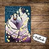 ilka parey wandtattoo-welt® A6 Postkarte Weihnachtskarte Karte Print Eisbär mit Lichterkette und Spruch allerfröhlichste Weihnachten pk16