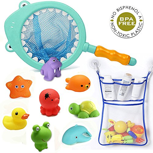 Morbuy Baby Badespielzeug Mit Bad Spielzeugnetz Organizer Baby Kinder Junge Mädchen Badespaß Schwimmbad Wasserspielzeug, Neugeborene Kleinkinder Dusche Geschenk Hai fischernetz 10 Stück
