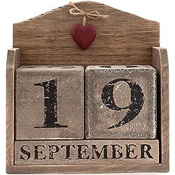 Madera corazón rojo calendario