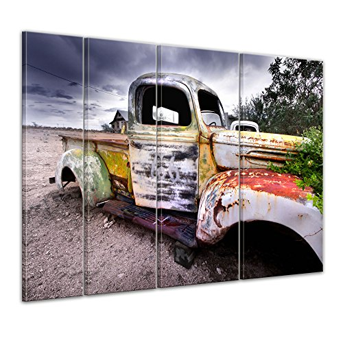 Keilrahmenbild - Alter rustikaler Truck - Bild auf Leinwand - 180 x 120 cm 4tlg - Leinwandbilder - Bilder als Leinwanddruck - motorisiert - Oldtimer - Truck in der Wüste - Ford-lkw-bilder
