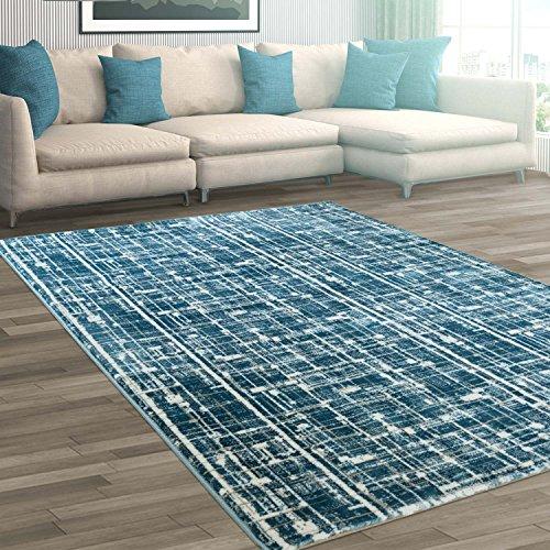 Teppich Flachflor Polyester Soft modern Blau Hell-/ Dunkel-Farbeffekt Wohnzimmer G...