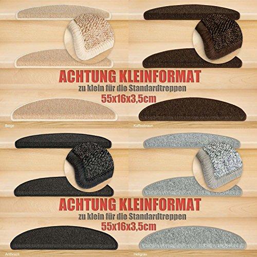 Kettelservice-Metzker® Stufenmatten Kleinformat für Raumspartreppen/Wendeltreppen 55x16x3,5cm inkl. Fleckentferner, Anthrazit 15 Stück