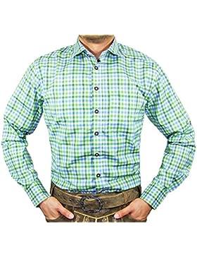 Maddox Slim Fit Trachtenhemd Ludwig - Blau Hellgrün Kariert - Herrenhemd Oberhemd zur Lederhose