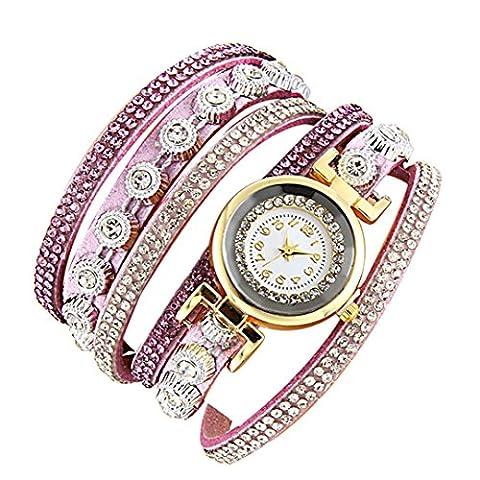 Minshao Mode Multi couches simili cuir Band Bracelet à quartz Strass Montre-bracelet pour coffret cadeau pour femme rose
