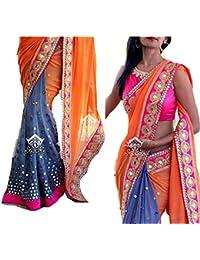 Daindiashop Women's Georgette Saree (T4295_Orange & Grey)
