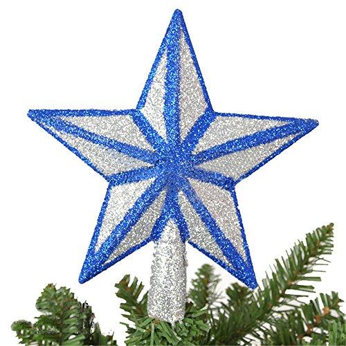 Decorazioni dell'albero Di Natale Silver Glitter Blu Stella Albero Topper Decorazione Cima Di Un Albero