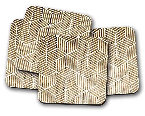 Motif géométrique Dessous de Verre-Lot de 4tapis de boissons New Home Cadeau idéal ou cadeau de Pendaison