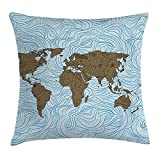 Trsdshorts Floral World Map Throw Pillow Cushion Cover, World Map with Wavy Ocean Lines Flower Continent Icons Artful Image, Decorative Square Accent Pillow Case, 18 X 18 inches, Cocoa Pale Blue