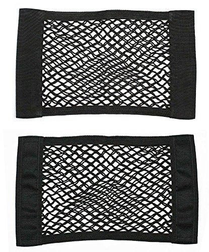 Yalulu 2Pcs Universal Schwarz Auto Lagerung Netz Taschen Beutel, Klettverschluss Ineinander greifen Car Side Pocket Organizer Smartphone-Halter-Beutel
