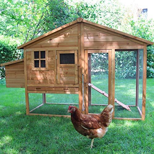 zoo-xxl Hühnerhaus Hühnerstall Hühnervoliere Liese ca. 188 x 70.00 x 117 cm mit Freilauf mit Nistkasten für draußen